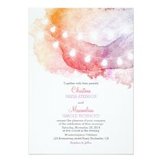 Watercolor Wedding Invitation watercolor string lights elegant wedding card