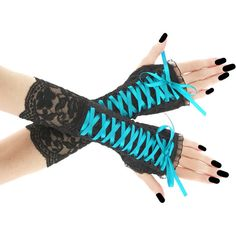 Turquoise black fingerless mittens, lace arm warmers in gothic,... ($25) ❤ liked on Polyvore featuring accessories, gloves, steampunk fingerless gloves, lace up gloves, goth fingerless gloves, mitten gloves and fingerless mittens
