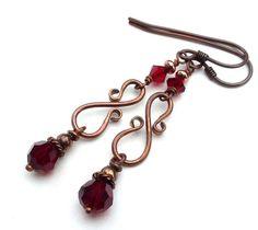 Blood red copper earrings, dark crystal bead jewelry
