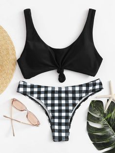 6a5639ac741 gingham tie front bikini set.  swimwear  beachwear  women  fashion Cute  Swimsuits