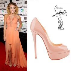Miley Cyrus in Christian Louboutin nude Lady Peep pumps [CELE036] - $181.60 : Discounted Christian Louboutin,Jimmy Choo,Valentino,Giuseppe Zanotti and other Brand shoes., Christian Louboutin,Jimmy Choo,and Valentino