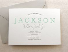 letterpress printed birth announcement mint green and grey