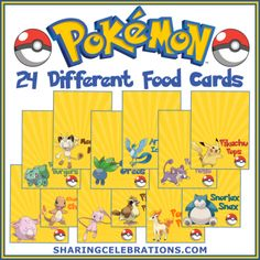 Pokemon Party Food Cards