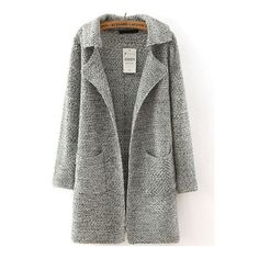 SheIn(sheinside) Grey Lapel Long Sleeve Pockets Sweater Coat ($26) ❤ liked on Polyvore featuring outerwear, coats, jackets, shein, sweaters, grey, gray coat, grey coat, gray sweater coat and sweater coat