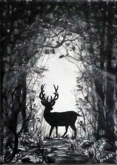 Deer in the Woods Original Painting Small 5 x 7 by ArtbySimplyMe, $35.00