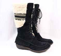 UGG Shoreline Black Suede Leather Fringe Shearling Knee High Winter Boot Women 9…