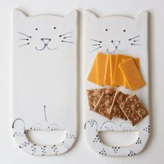 Kitty Cat Cheese Board Tray Creamy White от BackBayPottery
