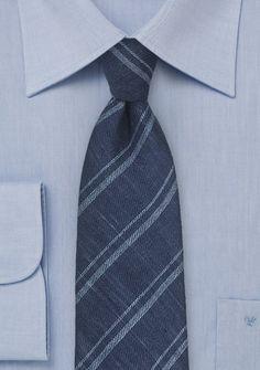 Krawatte Leinen Streifen-Stil marineblau