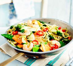 This low-calorie prawn stir-fry can be thrown together and served up as a supper for 2 in just 11 minutes