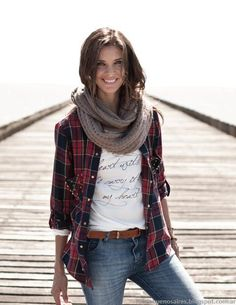 Graphic tee, plaid, scarf, belt