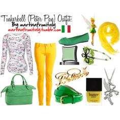 """Not the shirt...but everything else :) """"Tinkerbell (Peter Pan) Outfit"""" by martinafromitaly on Polyvore"""