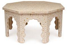 Bone-Inlay Octagonal Table, Ivory on OneKingsLane.com