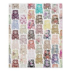 Cute whimsical girly floral owls pattern & hearts print