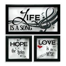 Life/Love/Hope 3-Piece Glass Inspirational Wall Decor Set