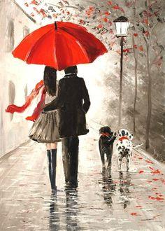 Rainy Wallpaper, Watercolor Paintings For Beginners, Rain Painting, Rain Art, Umbrella Art, Couple Art, Beautiful Paintings, Art Pictures, Art Drawings