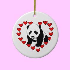 Panda Bear Love Ornament