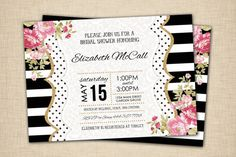 Black and White Striped Bridal Shower Invitations - Gold Pink floral shabby chic - print yourself