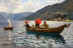 Hans Dahl (Norwegian 1849-1937)  Artist with His Family Boating in Balestrand