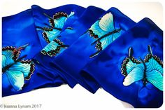 Butterfly Silk Scarf. 11x57 Painted silk scarves.