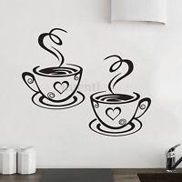 Luxury Wandaufkleber Wandsticker Wandtattoo K che Coffee Kaffee Tasse Fenster Dekor