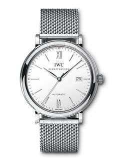 The fine stainless-steel Milanaise bracelet moulds itself snugly round the wrist and gives this version of the Portofino Automatic a very special appeal. Mesh Bracelet, Bracelets, Bracelet Watch, Stainless Steel Bracelet, Stainless Steel Case, Paris 3, Iwc Watches, Chronograph, Bronze