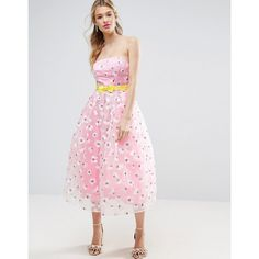 ASOS SALON Embroidered Organza Midi Prom with Bow Waist Detail ( 140) ❤  liked on ed3a92514