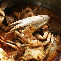 Goan Crab Curry: Crabs cooked #Goan style with coconut cream and goan chilli bombs.