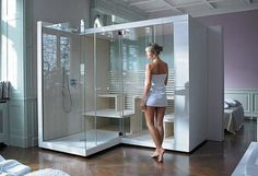 Sauna by Duravit . Like the shower next door to the sauna. Spa Rooms, Bathroom Spa, Italia Design, Home, Interior, Dream Bathrooms, Sauna Design, Duravit, Steam Room Shower