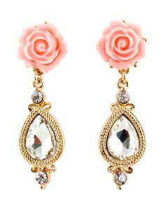 drop dead gorgeous   Gold Flower Diamond Drop Earrings 5.93