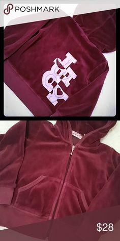 Juicy Couture Full Zip Hoodie Burgandy Juicy Couture Hooded jacket w/juicy design on back, size 2T. Juicy Couture Shirts & Tops Sweatshirts & Hoodies