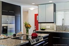 gray metal cabinets kitchen - Google Search
