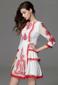 Tribal Embroidered Mid-Sleeve Chiffon Dress in Red