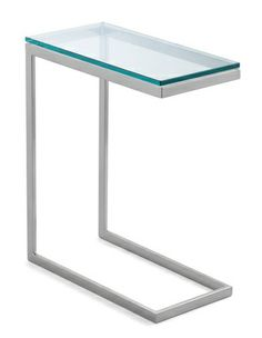 Clever, contemporary powder-coated steel and glass design graciously stands alone as a side table and swings over a sofa arm (or bed) to serve as a laptop desk or modern meal tray. We've even seen it paired up with a low coffee table to add height, interest and dimension. Extra sturdy glass is ½-inch thick.