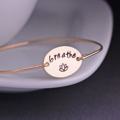 Gold Breathe Bracelet -  Gold Yoga Jewelry  - Lotus by georgiedesigns