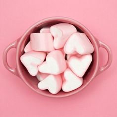 Heart marshies in a pink bowl on a pink background. Color Rosa, Pink Color, Pastel Colors, Pastels, Colours, Orange Pastel, Pink Bowls, Rings For Her, Aesthetic Colors