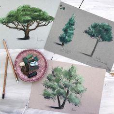 Перехожу на деревья ✍отработать формы/тени, а потом перейти к экспериментам с цветом