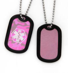 Pink Camouflage Medical Dog Tag Necklace