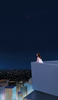 ♡★late night me and my thoughts and the MOON Art Anime, Anime Art Girl, Cute Wallpapers, Wallpaper Backgrounds, Stock Design, Anime Scenery, Cartoon Wallpaper, Aesthetic Art, Cartoon Art