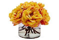 "11"" Bloomed Roses in Vase, Faux*"