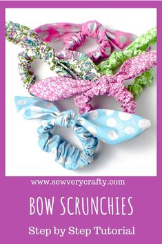 These scrunchies are all the rage again. Don't limit yourself to store bought colors spread your wings and pick some fun and fashionable fabrics for your bow scrunchies. These scrunchies can be made with or without the bow in about… Continue Reading → Sewing Projects For Beginners, Sewing Tutorials, Sewing Hacks, Sewing Tips, Maila, Fru Fru, Leftover Fabric, Love Sewing, How To Make Bows