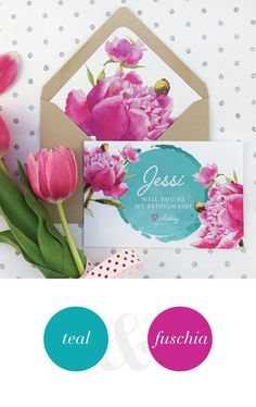 Will you be my bridesmaid card for a teal & fuchsia wedding.