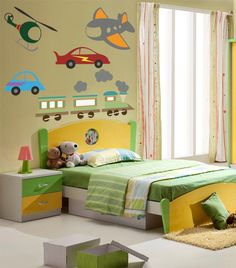 Wall Decal Custom Vinyl Art Stickers - Kids Transportation Cars, Helicopter, Trains, and Planes. $100.00, via Etsy.