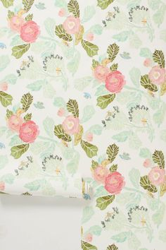 Watercolor Peony Wallpaper - Anthropologie.com For my laundry room? Or one wall of Charlie's nursery?