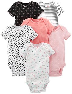 cb4e9755d3 Carter s Baby Girls Short-Sleeve Onesies Cotton Imported Machine Wash Six  short-sleeve bodysuits in baby-soft cotton featuring patterns