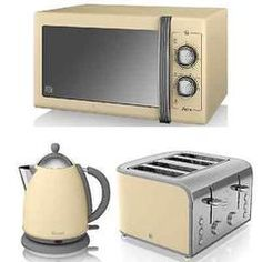 NEW Swan Cream Manual Microwave Jug Kettle and 4 Slice Toaster Kitchen Retro Set