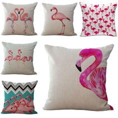 Moda hot pink flamingo capa de almofada pássaro tropical sofá thorow de cadeira fronha sofá almofadas cojines                                                                                                                                                                                 Mais