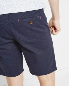 Jacquard spotted chino shorts - Blue | Shorts | Ted Baker