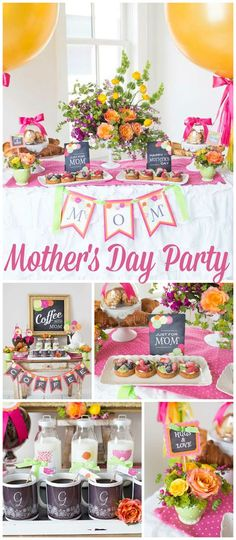 Love this gorgeous Mother's Day party with a coffee bar! See more party ideas at CatchMyParty.com!