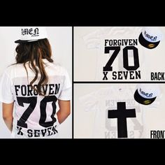 Coming soon! Forgiven 70X7 Football jersey version2 in white. Cross on front the back is just like the original #forgiven #70times7 #jclu_4ever #jcluforever www.jcluforever.com