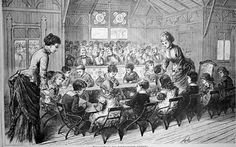 Artists impression of a Froebel Kindergarten showing at The Centennial World Fair in America. The children are playing with the Froebel 'gifts' at the table.